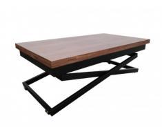 Tavolino rialzabile in MDF e metallo - Noce & Nero - KALDEN