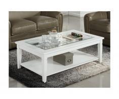 Tavolino GUERANDE - Pino bianco e vetro temperato