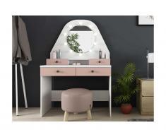 Toeletta con specchio LED e vani portaoggetti Bianco e rosa - GABRIELA