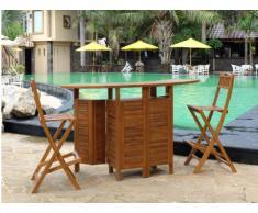 Bar da giardino e 2 sedie da bar AKUDA - Teak - Naturale