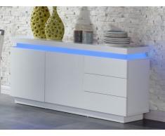 Credenza basso EMERSON II - LED - 2 ante e 3 cassetti - MDF laccato bianco