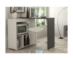 Mobile bar girevole Bianco e Calcestruzzo - SATURNE
