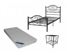 Pacchetto CAMERA bambini LEYNA - letto 90x190 cm + materasso e comodino - Nero