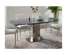 Tavolo da pranzo allungabile TALICIA - Vetro temperato & metallo - da 6 a 8 coperti - Grigio