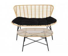 Divano 2 posti + tavolino da giardino NICOYA in resina intrecciata - Seduta nera