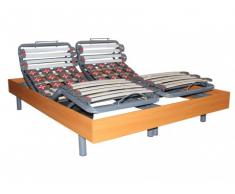 Rete relax 28 doghe e 40 sospensioni deco in legno di ciliegio di DREAMEA - 2 x 70 x 190 cm - Motori OKIN