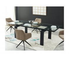 Tavolo da pranzo allungabile da 8 a 10 coperti in Vetro temperato e metallo Nero - LUBANA