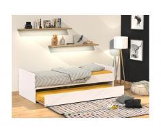 Letto singolo con letto estraibile 90 x 190 cm Laccato bianco - NOLAN