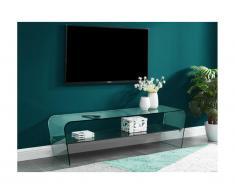 Mobile TV KELLY- Vetro curvo e ripiano nero