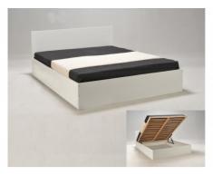 Letto con contenitore ELPHIGE - 160 x 200 cm - Bianco