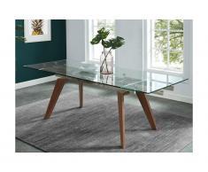 Tavolo da pranzo allungabile 6 a 8 posti in Vetro temperato e metallo effetto noce - ALTAMIRA