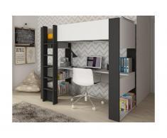 Letto a soppalco con scrivania e scaffali integrati Bianco e antracite 90 x 200 cm - NOAH