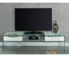 Mobile TV ABBY - 2 cassetti - MDF laccato e vetro temperato - Colore bianco