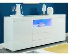 Credenza con 2 ante e 3 cassetti LED in MDF laccato Bianco - BOLIDE