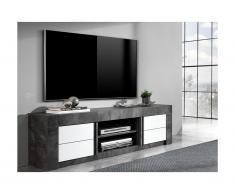 Mobile TV con 2 ante e 2 nicchie Aspetto ardesia e bianco laccato - ESSIA