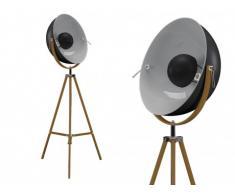 Lampada cinema industriale MOVIE gambe in legno - H. 166 cm - Esterno nero, interno argentato