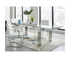 Tavolo da pranzo allungabile LUBANA - Vetro temperato & metallo - da 8 a 10 coperti