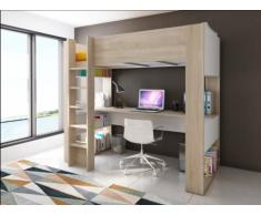 Letto a soppalco NOAH con scrivania e spazi integrati per riporre i propri oggetti - 90 x 190 cm