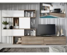 Parete TV modulare con vani portaoggetti Quercia e bianco - NICOSIA