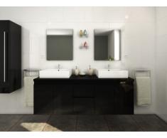 Mobili da bagno LAVITA II sospesi doppio lavabo e specchi - Nero