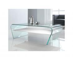 Tavolino in Vetro temperato bianco Ripiano bianco laccato - KELLY
