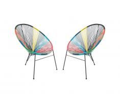 Sedie da giardino in resina intrecciata Multicolore II - Lotto di 2 - ALIOS II