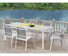 Sala da pranzo da giardino PALAOS - Tavolo allungabile, 6 sedie - Grigio