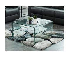 Tavolino quadrato con Doppio ripiano Vetro temperato - STILEOS