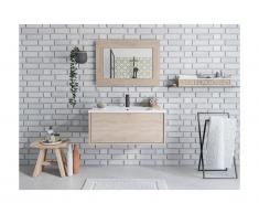Mobili sospesi per bagno con lavabo semplice e specchio Rovere - ALANA