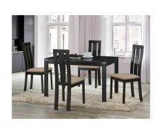 Set tavolo + 4 sedie Quercia massello Wengé - DOMINGO