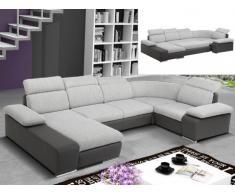 Divano letto angolare panoramico in tessuto e similpelle CYRANO - Bicolore grigio/antracite - Angolo a sinistra