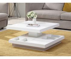 Tavolino girevole in MDF laccato bianco - FAUSTO