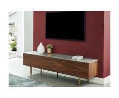 Mobile TV con 2 ante, 2 cassetti e piano effetto ceramica grigia in MDF Noce - ALIZE