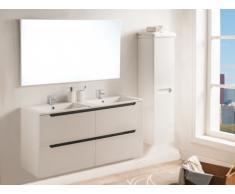 Set SELITA - mobile bagno con doppio lavabo e specchio - Laccato bianco