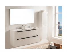 Set Mobile bagno con doppio lavabo e specchio laccato Bianco - SELITA