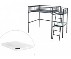Letto a soppalco con scrivania e materasso Antracite 140 x 190 cm - CASUAL II