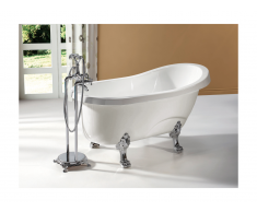 Vasca da bagno freestanding retro 145x74xH77 cm 171L Bianco e piedi argentati - EGEE II