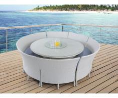 Sala da pranzo da giardino RIO GRANDE in resina intrecciata bianca: un tavolo, 2 panche e 4 sedie