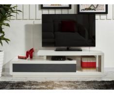 Mobile TV ARTABAN - 2 cassetti - MDF laccato - Bianco e grigio