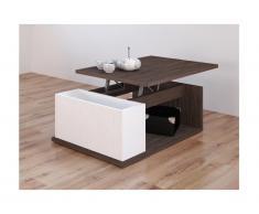 Tavolino ALDANA - Ripiano sollevabile - Legno e MDF - Wengé e bianco