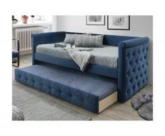 Letto singolo con letto estraibile capitonné 2 x 90 x 190 cm in tessuto blu - LOUISE