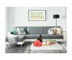 Divano letto angolare reversibile in tessuto e similpelle WILLIS - Bianco/grigio