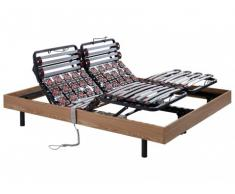 Rete relax doghe e 2x25 sospensioni in legno decorative quercia taupe di DREAMEA - 2x80x200 cm - motori OKIN