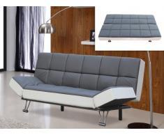 Divano letto clic-clac in similpelle ESPOO bicolore grigio/bianco
