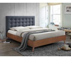 Letto FRANCESCO - 140x190 cm - Tessuto grigio e legno