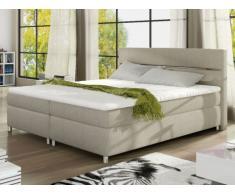 Set letto boxspring con testata + reti + materasso + topper PASSION di PALACIO - tessuto beige - 2x80x200 cm
