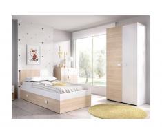 Letto singolo con letto estraibile 90 x 190 cm Quercia e bianco - SONIA