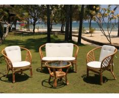 Salotto da giardino in giunco: divano 2 posti, 2 poltrone e un tavolino - GIBARA