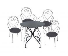 Sala da pranzo da giardino in ferro battuto GUERMANTES: un tavolo e 4 sedie antracite