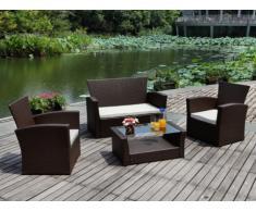 Set da giardino AREQUIPA divano 2 poltrone tavolino marrone